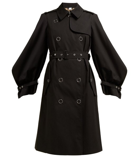 Burberry double breasted cotton gabardine trench coat in black