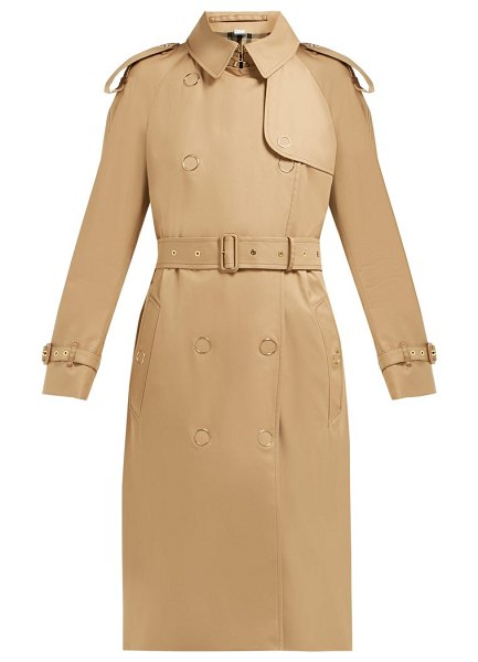 Burberry double breasted cotton gabardine trench coat in beige