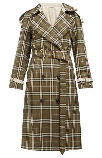 Burberry eastleigh reversible tartan cotton trench coat in grey