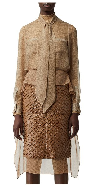 Burberry Fish-Print Chiffon Top in sand