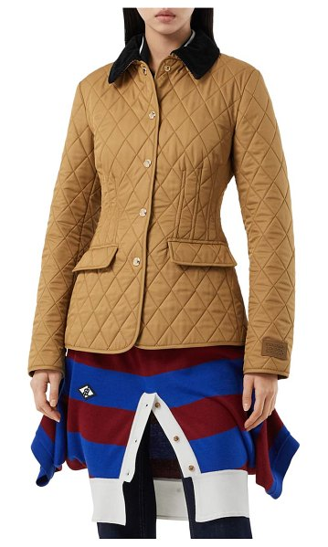 Burberry fitted diamond quilted barn jacket in camel
