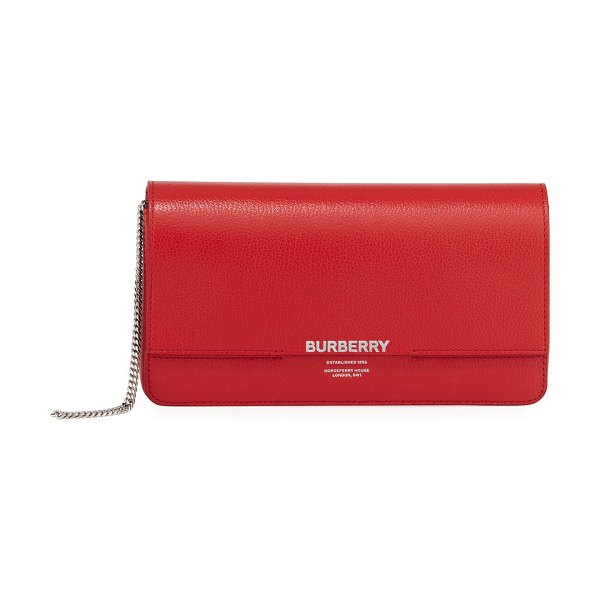 Burberry HorseFerry Smooth Clutch Bag in bright red