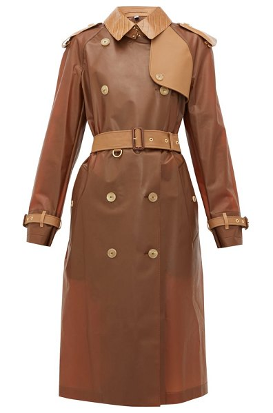 Burberry leather trimmed pu trench in light brown