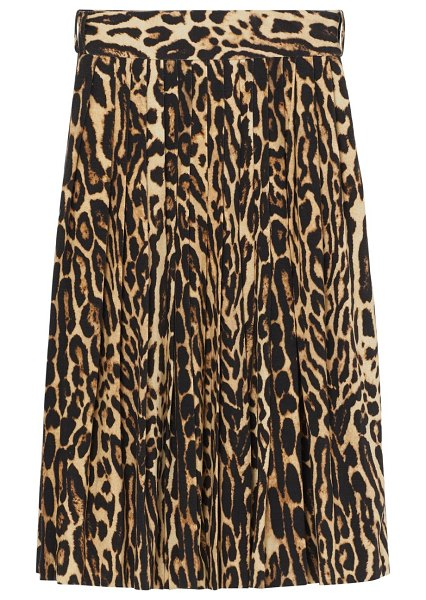 Burberry leopard print pleated skirt in camel
