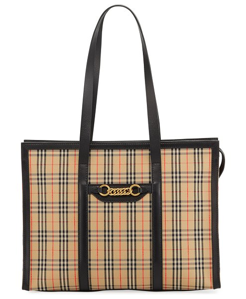 Burberry Link 1983 Check Shoulder Tote Bag in black - Burberry tote in vintage 1983 check canvas, finished...