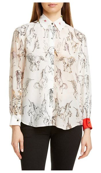 Burberry lucinda unicorn sketch mulberry silk shirt in black ip pattern
