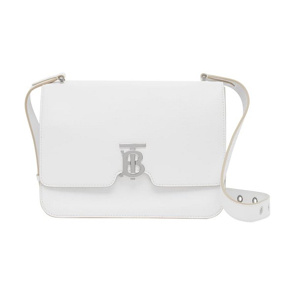 Burberry medium alice leather shoulder bag in optic white