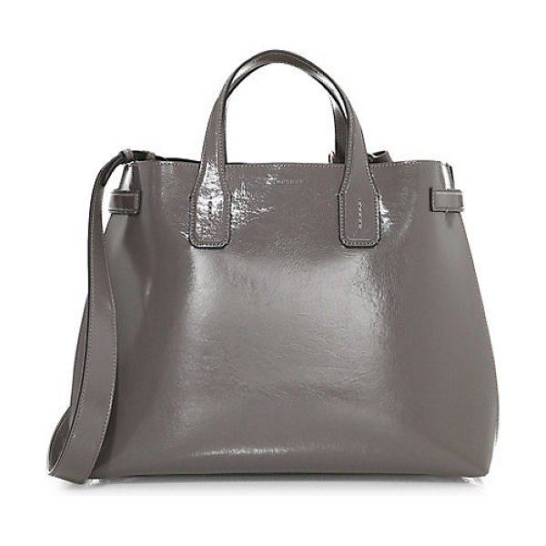 Burberry medium soft banner leather tote bag in grey - Supple leather tote bag is constructed with a minimalist...