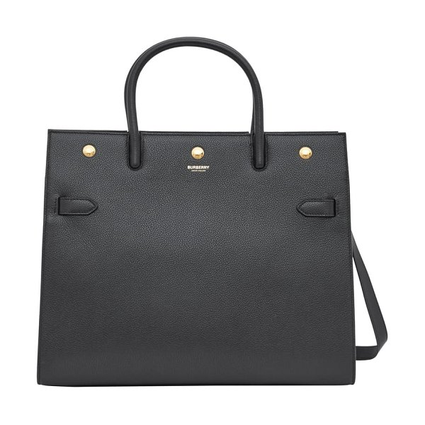 Burberry medium title leather tote in black