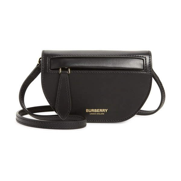 Burberry micro olympia leather shoulder bag in black