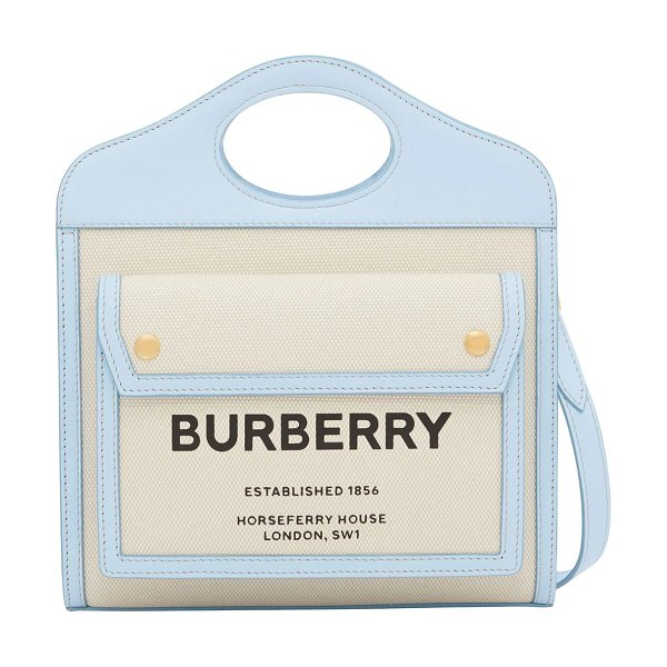 Burberry Mini pocket logo canvas & leather tote in light blue