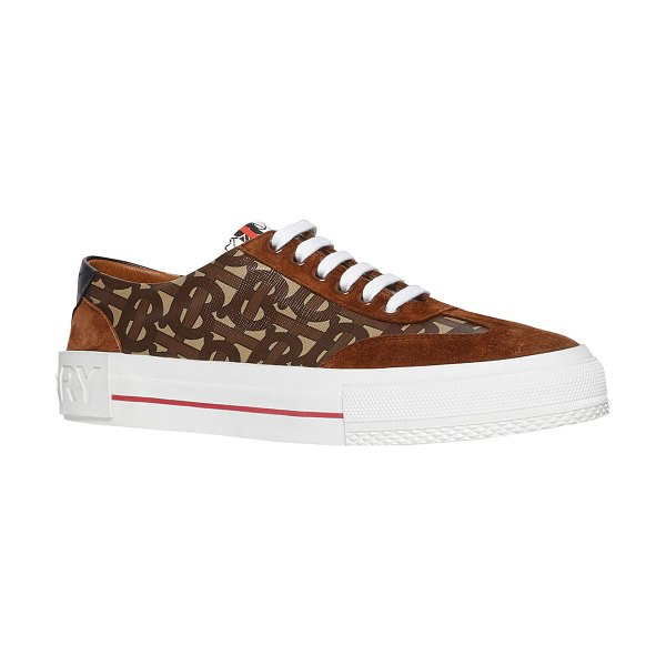 Burberry Nelson Suede & TB Canvas Low-Top Sneakers in brown