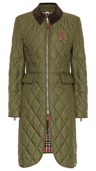 Burberry ongar quilted coat in green