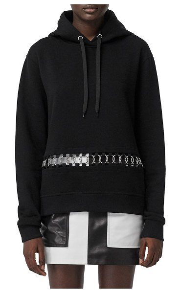 Burberry Poulter Oversized Ring-Inset Hoodie Sweatshirt in black