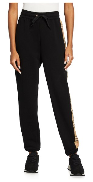 Burberry Raine Vintage-Check and Logo Panel Jogger Pants in black
