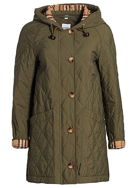 Burberry roxwell long quilted jacket in poplar green