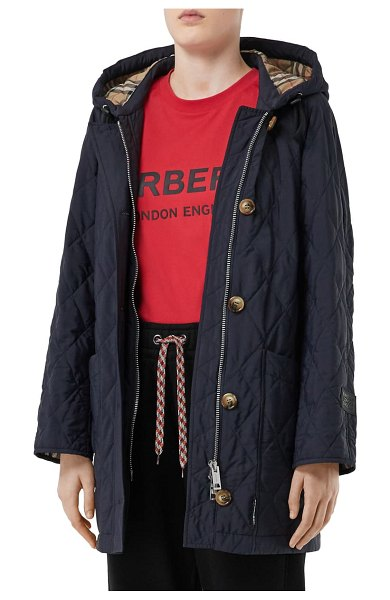 Burberry roxwell vintage check hood thermoregulated quilted coat in navy