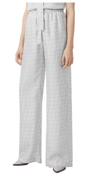 Burberry seighford tb monogram print silk wide leg pants in white ip pattern