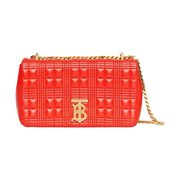 Burberry small lola tb quilted check leather shoulder bag in bright red