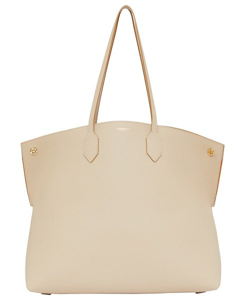 Burberry large society grainy leather tote in soft fawn/ orange