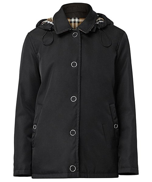 Burberry southport short nylon car coat in black