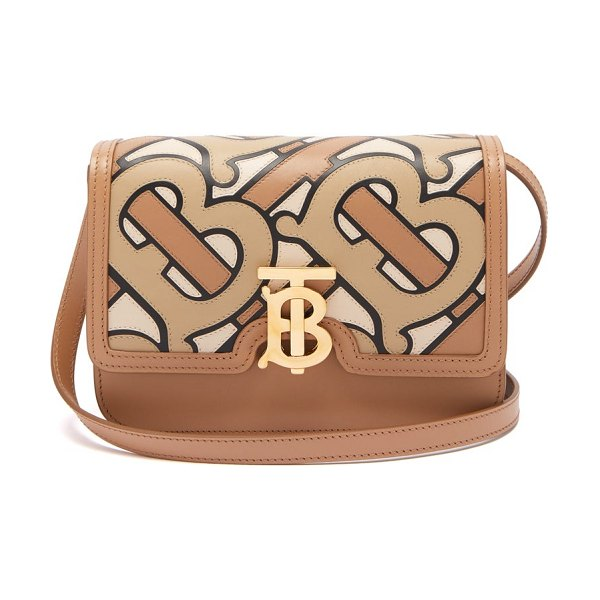 Burberry tb-monogram leather cross-body bag in beige multi