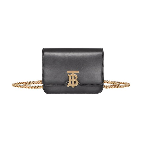 Burberry TB Small Bum Belt/Crossbody Bag in black - Burberry smooth leather crossbody bag with golden...