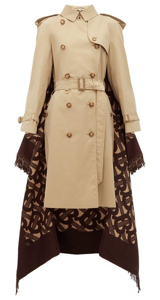Burberry tb wool blend and cotton trench coat in beige