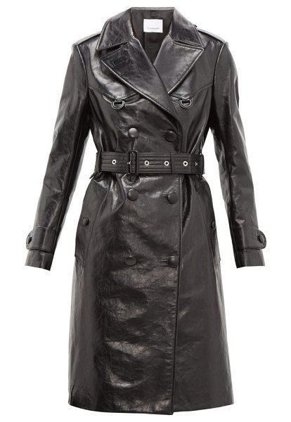 Burberry tintagel double breasted leather trench coat in black