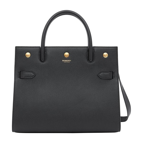 Burberry Title Small Grainy Leather Double-Handle Tote Bag in black