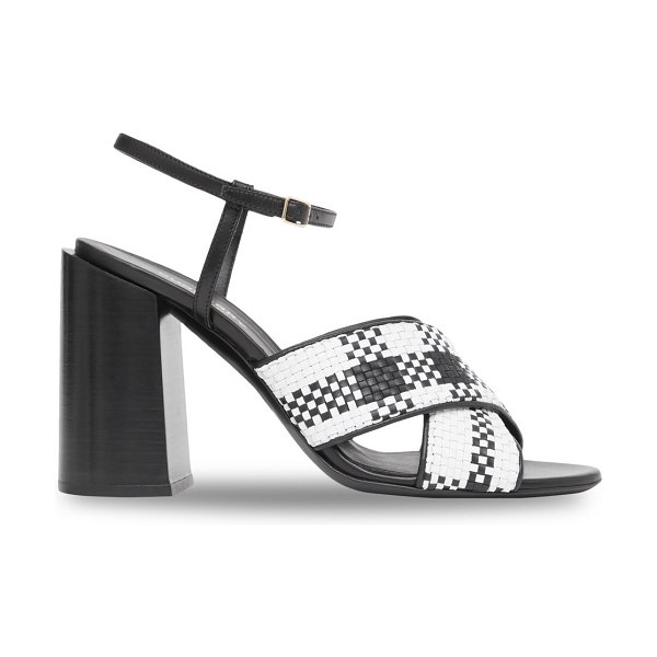 Burberry woven leather sandals in black white