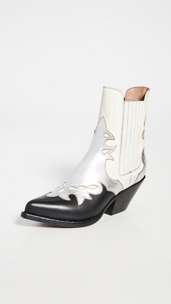 Buttero elise western booties in off white