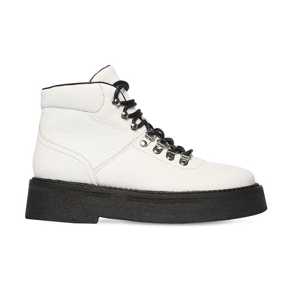 BY FAR 45mm leo grained leather ankle boots in white