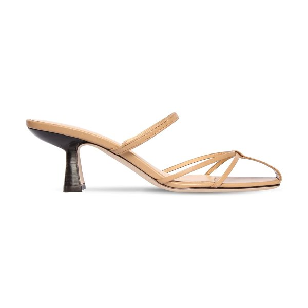 BY FAR 70mm edita leather sandals in nude