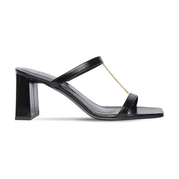 BY FAR 80mm chloe creased leather sandals in black