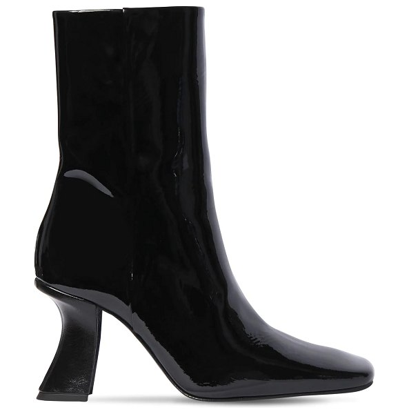 BY FAR 85mm demi patent leather ankle boots in black