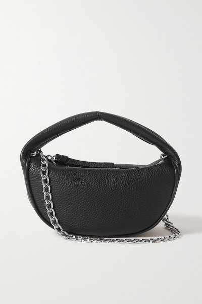 BY FAR baby cush chain-embellished textured-leather shoulder bag in black