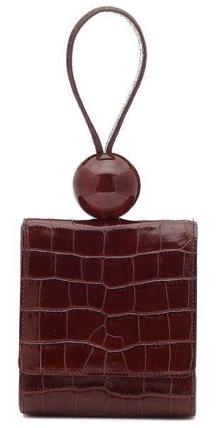 BY FAR ball croc-effect leather clutch in brown