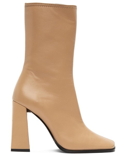 BY FAR beige linda heeled boots in nu nude