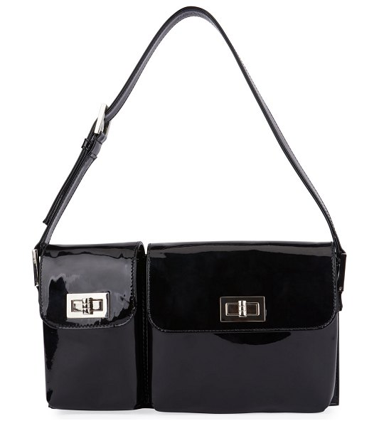 BY FAR Billy Semi-Patent Leather Shoulder Bag in black