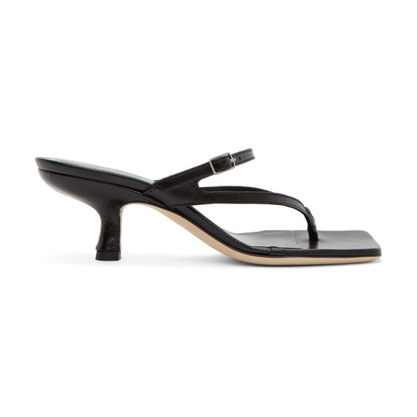 BY FAR black creased leather desiree heeled sandals in bl black