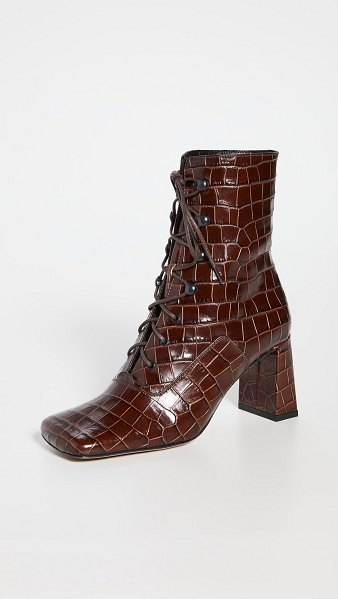 BY FAR claude croco lace up booties in nutella