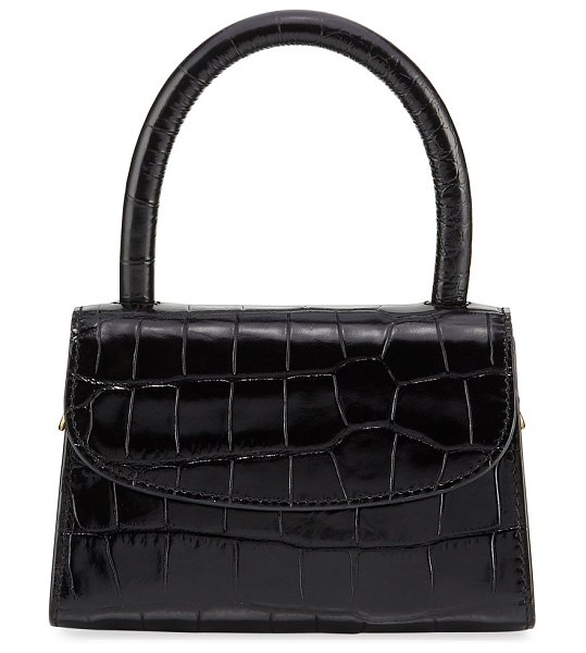BY FAR Mini Crocodile-Embossed Top-Handle Bag in black