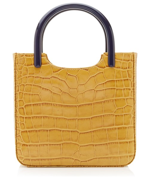 BY FAR eric croc-effect leather tote in blue