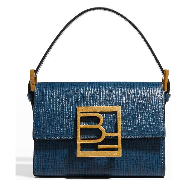 BY FAR Fran Embossed Leather Satchel Bag in cobalto
