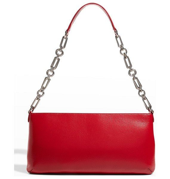 BY FAR Holly Gloss Grained Leather Shoulder Bag in chili