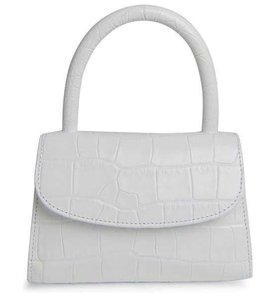 BY FAR mini croc-embossed leather top handle bag in white