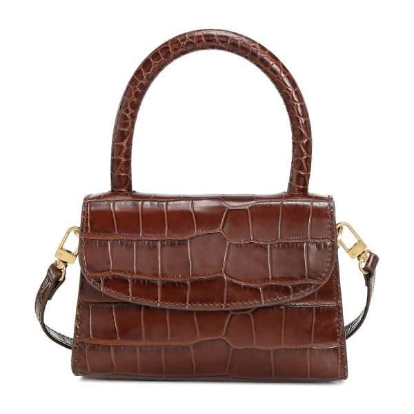 BY FAR mini croc-embossed leather top handle bag in nutella