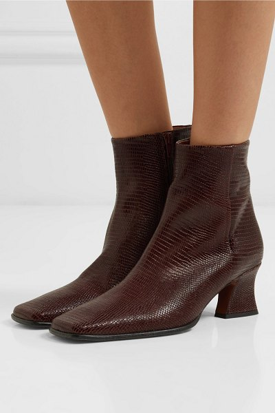 BY FAR naomi lizard-effect leather ankle boots in dark brown - BY FAR creates modern pieces with a hint of nostalgia...