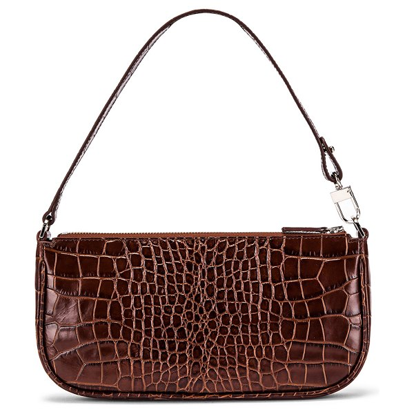BY FAR rachel croco embossed leather bag in nutella